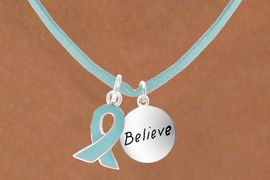 """<BR>        """"EXCLUSIVELY OURS""""<bR>    AN ALLAN ROBIN DESIGN<Br>        LEAD & NICKEL FREE!!<Br>W13670N - TEAL AWARENESS<Br> RIBBON & """"BELIEVE"""" CIRCLE<Br> ON A TEAL SUEDE NECKLACE<Br>              AS LOW AS $4.15"""