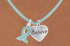 """<BR>         """"EXCLUSIVELY OURS""""<bR>     AN ALLAN ROBIN DESIGN<Br>        LEAD & NICKEL FREE!!<Br>W13674N - TEAL AWARENESS<Br> RIBBON & """"BELIEVE"""" HEART<Br> ON A TEAL SUEDE NECKLACE<Br>              AS LOW AS $4.15"""