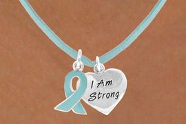 """<BR>              """"EXCLUSIVELY OURS""""<bR>          AN ALLAN ROBIN DESIGN<Br>            LEAD & NICKEL FREE!!<Br>    W13675N - TEAL AWARENESS<Br>RIBBON & """"I AM STRONG"""" HEART<Br>     ON A TEAL SUEDE NECKLACE<Br>                 AS LOW AS $4.15"""