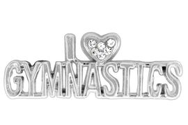 """<BR>             """"EXCLUSIVELY OURS""""<bR>          AN ALLAN ROBIN DESIGN<Br>             LEAD & NICKEL FREE!!<Br>W13706P - """"I LOVE GYMNASTICS""""<br>              PIN AS LOW AS $5.30"""