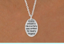 """<BR>            """"EXCLUSIVELY OURS""""<bR>        AN ALLAN ROBIN DESIGN<Br>             LEAD & NICKEL FREE!!<Br>W13708N - """"LIFE IS A FAIRY TALE""""<Br>NECKLACE FROM $4.10 TO $10.00"""