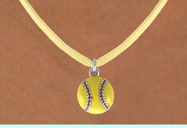 """<BR>            """"EXCLUSIVELY OURS""""<bR>        AN ALLAN ROBIN DESIGN<Br>            LEAD & NICKEL FREE!!<Br>  W13711N - GIRL'S SOFTBALL ON<Br>       YELLOW SUEDE NECKLACE<BR>               AS LOW AS $4.15"""