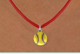 """<BR>        """"EXCLUSIVELY OURS""""<bR>    AN ALLAN ROBIN DESIGN<Br>       LEAD & NICKEL FREE!!<Br>W13712N - GIRL'S SOFTBALL<Br>    ON RED SUEDE NECKLACE<BR>         FROM $5.25 TO $8.65"""