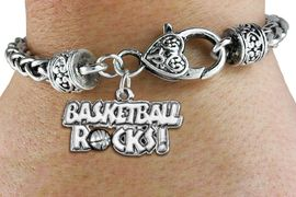 "<bR>                     EXCLUSIVELY OURS!! <BR>                AN ALLAN ROBIN DESIGN!!<BR>           LEAD, CADMIUM, & NICKEL FREE!! <BR> W1377SB - ""BASKETBALL ROCKS"" CHARM <BR> & HEART LOBSTER CLASP BRACELET<Br>       FROM $3.35 TO $8.00 �2012"