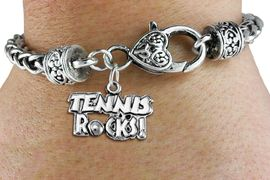 "<bR>             EXCLUSIVELY OURS!! <BR>        AN ALLAN ROBIN DESIGN!!<BR>             LEAD & NICKEL FREE!! <BR> W1379SB - ""TENNIS ROCKS"" CHARM <BR> & HEART LOBSTER CLASP BRACELET<Br>       FROM $3.35 TO $8.00 �2012"