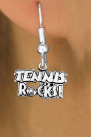 "<bR>                    EXCLUSIVELY OURS!! <BR>               AN ALLAN ROBIN DESIGN!!<BR>                    LEAD & NICKEL FREE!! <BR>           W1379SB - ""TENNIS ROCKS"" <BR>         SILVER TONE CHARM EARRINGS <Br>            FROM $4.50 TO $8.35 �2012"