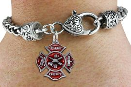 <bR>                   EXCLUSIVELY OURS!!<BR>             AN ALLAN ROBIN DESIGN!!<BR>                 LEAD & NICKEL FREE!!<BR>W1380SB - 2 SIDED DETAILED FIRE DEPT <BR>PEWTER TONE MALTESE CROSS CHARM  <BR>    ON HEART LOBSTER CLASP BRACELET <Br>         FROM $5.63 TO $12.50 �2012