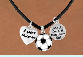 """<BR>          """"EXCLUSIVELY OURS""""<bR>      AN ALLAN ROBIN DESIGN<Br>          LEAD & NICKEL FREE!!<Br>W13832N - """"EXPECT MIRACLES""""<br>    & """"DON'T GIVE UP"""" SOCCER<br>    NECKLACE AS LOW AS $5.30"""