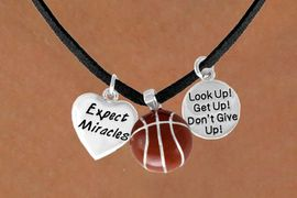 "<BR>            ""EXCLUSIVELY OURS""<bR>        AN ALLAN ROBIN DESIGN<Br>            LEAD & NICKEL FREE!!<Br>W13845N - ""EXPECT MIRACLES""<br>& ""DON'T GIVE UP"" BASKETBALL<br>     NECKLACE AS LOW AS $5.30"