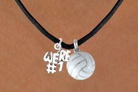 "<BR>           ""EXCLUSIVELY OURS""<bR>       AN ALLAN ROBIN DESIGN<Br>          LEAD & NICKEL FREE!!<Br>W13906N - ""WE'RE #1"" CHARM<Br>     & VOLLEYBALL NECKLACE<BR>               AS LOW AS $4.50"