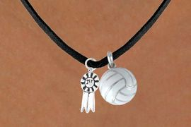 "<BR>     ""EXCLUSIVELY OURS""<bR> AN ALLAN ROBIN DESIGN<Br>    LEAD & NICKEL FREE!!<Br>W13907N - ""1ST"" RIBBON<br>& VOLLEYBALL NECKLACE<br>         AS LOW AS $4.50"