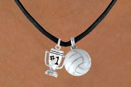 """<BR>     """"EXCLUSIVELY OURS""""<bR> AN ALLAN ROBIN DESIGN<Br>      LEAD & NICKEL FREE!!<Br>W13912N - """"#1"""" TROPHY &<br>   VOLLEYBALL NECKLACE<br>           AS LOW AS $4.50"""