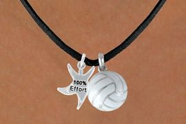 """<BR>           """"EXCLUSIVELY OURS""""<bR>       AN ALLAN ROBIN DESIGN<Br>             LEAD & NICKEL FREE!!<Br>W13914N - """"100% EFFORT"""" STAR<br>  MAN & VOLLEYBALL NECKLACE<BR>                  AS LOW AS $4.50"""