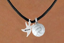 """<BR>       """"EXCLUSIVELY OURS""""<bR>   AN ALLAN ROBIN DESIGN<Br>      LEAD & NICKEL FREE!!<Br>W13915N - """"WINNER"""" MAN<Br>  & VOLLEYBALL NECKLACE<BR>            AS LOW AS $4.50"""