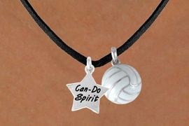 """<BR>         """"EXCLUSIVELY OURS""""<bR>       AN ALLAN ROBIN DESIGN<Br>          LEAD & NICKEL FREE!!<Br>   W13916N - """"CAN-DO SPIRIT""""<br>STAR & VOLLEYBALL NECKLACE<br>                AS LOW AS $4.50"""