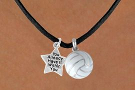"""<BR>           """"EXCLUSIVELY OURS""""<bR>       AN ALLAN ROBIN DESIGN<Br>            LEAD & NICKEL FREE!!<Br>W13918N - ALREADY WITHIN YOU<br>  STAR & VOLLEYBALL NECKLACE<BR>                 AS LOW AS $4.50"""