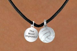 """<BR>              """"EXCLUSIVELY OURS""""<bR>          AN ALLAN ROBIN DESIGN<Br>             LEAD & NICKEL FREE!!<Br>W13919N - """"THE MOST IMPROVED""""<br>         & VOLLEYBALL NECKLACE<BR>                   AS LOW AS $4.50"""