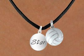 """<BR>      """"EXCLUSIVELY OURS""""<bR>  AN ALLAN ROBIN DESIGN<Br>      LEAD & NICKEL FREE!!<Br>W13922N - """"STAR"""" DISC &<br>   VOLLEYBALL NECKLACE<br>           AS LOW AS $4.50"""