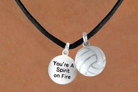 """<BR>       """"EXCLUSIVELY OURS""""<bR>   AN ALLAN ROBIN DESIGN<Br>       LEAD & NICKEL FREE!!<Br>W13923N - """"SPIRIT ON FIRE""""<br>   & VOLLEYBALL NECKLACE<br>            AS LOW AS $4.50"""