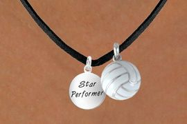 """<BR>       """"EXCLUSIVELY OURS""""<bR>    AN ALLAN ROBIN DESIGN<Br>         LEAD & NICKEL FREE!!<Br>W13925N - STAR PERFORMER<br>    & VOLLEYBALL NECKLACE<BR>             AS LOW AS $4.50"""