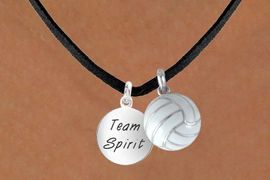 """<BR>      """"EXCLUSIVELY OURS""""<bR>  AN ALLAN ROBIN DESIGN<Br>    LEAD & NICKEL FREE!!<Br>W13926N - """"TEAM SPIRIT""""<br>& VOLLEYBALL NECKLACE<br>          AS LOW AS $4.50"""