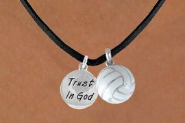"""<BR>      """"EXCLUSIVELY OURS""""<bR>  AN ALLAN ROBIN DESIGN<Br>      LEAD & NICKEL FREE!!<Br>W13930N - """"TRUST IN GOD""""<br>  & VOLLEYBALL NECKLACE<br>           AS LOW AS $4.50"""
