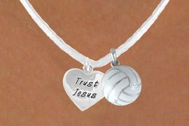 """<BR>              """"EXCLUSIVELY OURS""""<bR>          AN ALLAN ROBIN DESIGN<Br>             LEAD & NICKEL FREE!!<Br>W13931N - """"TRUST JESUS"""" HEART<br> & VOLLEYBALL WHITE NECKLACE<br>                  AS LOW AS $4.50"""