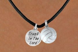 """<BR>             """"EXCLUSIVELY OURS""""<bR>         AN ALLAN ROBIN DESIGN<Br>            LEAD & NICKEL FREE!!<Br>W13932N - """"TRUST IN THE LORD""""<br>       & VOLLEYBALL NECKLACE<br>                 AS LOW AS $4.50"""