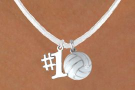 """<BR>            """"EXCLUSIVELY OURS""""<bR>        AN ALLAN ROBIN DESIGN<Br>             LEAD & NICKEL FREE!!<Br>W13933N - """"NUMBER 1"""" RIBBON<br>              & WHITE VOLLEYBALL<br>      NECKLACE AS LOW AS $4.50"""