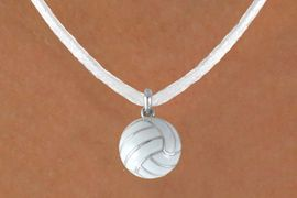"""<BR>          """"EXCLUSIVELY OURS""""<bR>      AN ALLAN ROBIN DESIGN<Br>          LEAD & NICKEL FREE!!<Br>W13934N - VOLLEYBALL CHARM<br>    ON WHITE SUEDE NECKLACE<br>                AS LOW AS $4.15"""