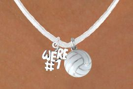 """<BR>              """"EXCLUSIVELY OURS""""<bR>         AN ALLAN ROBIN DESIGN<Br>            LEAD & NICKEL FREE!!<Br>  W13935N - """"WE'RE #1"""" CHARM<Br>& WHITE VOLLEYBALL NECKLACE<BR>                  AS LOW AS $4.50"""