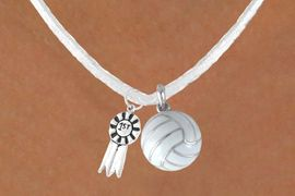 """<BR>      """"EXCLUSIVELY OURS""""<bR>  AN ALLAN ROBIN DESIGN<Br>       LEAD & NICKEL FREE!!<Br>  W13936N - """"1ST"""" RIBBON<br>       & WHITE VOLLEYBALL<br>NECKLACE AS LOW AS $4.50"""