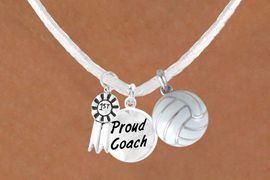 """<BR>        """"EXCLUSIVELY OURS""""<bR>    AN ALLAN ROBIN DESIGN<Br>       LEAD & NICKEL FREE!!<Br>W13937N - """"1ST"""" RIBBON &<br>    """"PROUD COACH"""" WHITE<br>     VOLLEYBALL NECKLACE<bR>            AS LOW AS $5.30"""