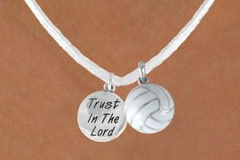 """<BR>            """"EXCLUSIVELY OURS""""<bR>        AN ALLAN ROBIN DESIGN<Br>            LEAD & NICKEL FREE!!<Br>W13938N - """"TRUST IN THE LORD""""<br>& WHITE VOLLEYBALL NECKLACE<br>                 AS LOW AS $4.50"""