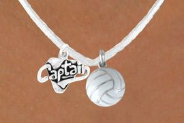 """<BR>            """"EXCLUSIVELY OURS""""<bR>       AN ALLAN ROBIN DESIGN<Br>          LEAD & NICKEL FREE!!<Br>W13939N - """"CAPTAIN"""" & WHITE<br>        VOLLEYBALL NECKLACE<br>               AS LOW AS $4.50"""