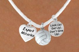 """<BR>            """"EXCLUSIVELY OURS""""<bR>        AN ALLAN ROBIN DESIGN<Br>           LEAD & NICKEL FREE!!<Br>W13940N - """"EXPECT MIRACLES""""<br>      & """"DON'T GIVE UP"""" WHITE<br>        VOLLEYBALL NECKLACE<bR>                AS LOW AS $5.30"""