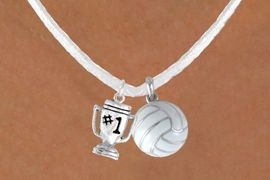 """<BR>            """"EXCLUSIVELY OURS""""<bR>        AN ALLAN ROBIN DESIGN<Br>          LEAD & NICKEL FREE!!<Br>    W13941N - """"#1"""" TROPHY &<br>WHITE VOLLEYBALL NECKLACE<br>               AS LOW AS $4.50"""