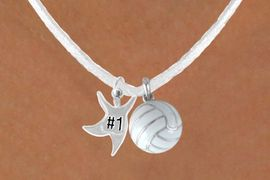"""<BR>         """"EXCLUSIVELY OURS""""<bR>     AN ALLAN ROBIN DESIGN<Br>          LEAD & NICKEL FREE!!<Br> W13942N - """"#1"""" STAR MAN &<br>WHITE VOLLEYBALL NECKLACE<br>               AS LOW AS $4.50"""