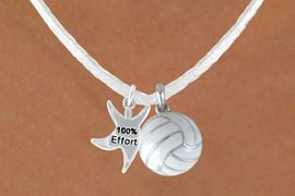 """<BR>            """"EXCLUSIVELY OURS""""<bR>        AN ALLAN ROBIN DESIGN<Br>            LEAD & NICKEL FREE!!<Br>W13943N - """"100% EFFORT"""" STAR<br>       MAN & WHITE VOLLEYBALL<BR>      NECKLACE AS LOW AS $4.50"""