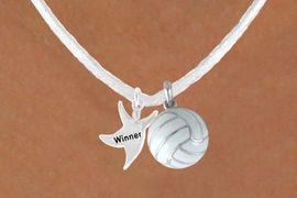 """<BR>            """"EXCLUSIVELY OURS""""<bR>        AN ALLAN ROBIN DESIGN<Br>          LEAD & NICKEL FREE!!<Br> W13944N - """"WINNER"""" MAN &<Br>WHITE VOLLEYBALL NECKLACE<BR>               AS LOW AS $4.50"""