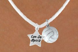 """<BR>               """"EXCLUSIVELY OURS""""<bR>           AN ALLAN ROBIN DESIGN<Br>              LEAD & NICKEL FREE!!<Br>W13945N - """"CAN-DO SPIRIT"""" STAR<br>  & WHITE VOLLEYBALL NECKLACE<br>                   AS LOW AS $4.50"""