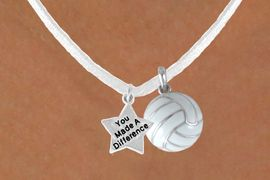 """<BR>                    """"EXCLUSIVELY OURS""""<bR>                AN ALLAN ROBIN DESIGN<Br>                   LEAD & NICKEL FREE!!<Br>W13946N - """"YOU MADE A DIFFERENCE""""<br>      & WHITE VOLLEYBALL NECKLACE<BR>                       AS LOW AS $4.50"""