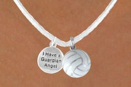 """<BR>            """"EXCLUSIVELY OURS""""<bR>        AN ALLAN ROBIN DESIGN<Br>            LEAD & NICKEL FREE!!<Br> W13948N - """"GUARDIAN ANGEL""""<br>      DISC & WHTIE VOLLEYBALL<br>     NECKLACE AS LOW AS $4.50"""