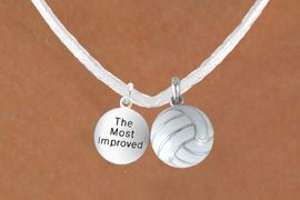 """<BR>               """"EXCLUSIVELY OURS""""<bR>           AN ALLAN ROBIN DESIGN<Br>              LEAD & NICKEL FREE!!<Br>W13950N - """"THE MOST IMPROVED""""<br>  & WHITE VOLLEYBALL NECKLACE<BR>                   AS LOW AS $4.50"""