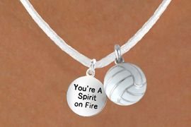 """<BR>            """"EXCLUSIVELY OURS""""<bR>        AN ALLAN ROBIN DESIGN<Br>          LEAD & NICKEL FREE!!<Br>W13953N - """"SPIRIT ON FIRE"""" &<br>WHITE VOLLEYBALL NECKLACE<br>              AS LOW AS $4.50"""
