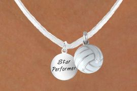 """<BR>            """"EXCLUSIVELY OURS""""<bR>        AN ALLAN ROBIN DESIGN<Br>           LEAD & NICKEL FREE!!<Br>W13954N - STAR PERFORMER &<br> WHITE VOLLEYBALL NECKLACE<BR>                AS LOW AS $4.50"""