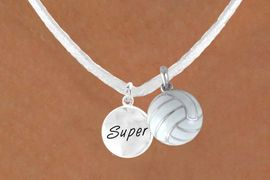 """<BR>            """"EXCLUSIVELY OURS""""<bR>        AN ALLAN ROBIN DESIGN<Br>          LEAD & NICKEL FREE!!<Br>   W13955N - """"SUPER"""" DISC &<br>WHITE VOLLEYBALL NECKLACE<br>               AS LOW AS $4.50"""