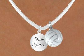 """<BR>            """"EXCLUSIVELY OURS""""<bR>        AN ALLAN ROBIN DESIGN<Br>          LEAD & NICKEL FREE!!<Br>  W13956N - """"TEAM SPIRIT"""" &<br>WHITE VOLLEYBALL NECKLACE<br>               AS LOW AS $4.50"""