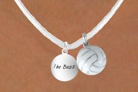 """<BR>            """"EXCLUSIVELY OURS""""<bR>        AN ALLAN ROBIN DESIGN<Br>          LEAD & NICKEL FREE!!<Br>W13957N - """"THE BEST"""" DISC &<br>WHITE VOLLEYBALL NECKLACE<br>               AS LOW AS $4.50"""