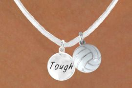 """<BR>            """"EXCLUSIVELY OURS""""<bR>        AN ALLAN ROBIN DESIGN<Br>          LEAD & NICKEL FREE!!<Br>  W13958N - """"TOUGH"""" DISC &<br>WHITE VOLLEYBALL NECKLACE<br>               AS LOW AS $4.50"""